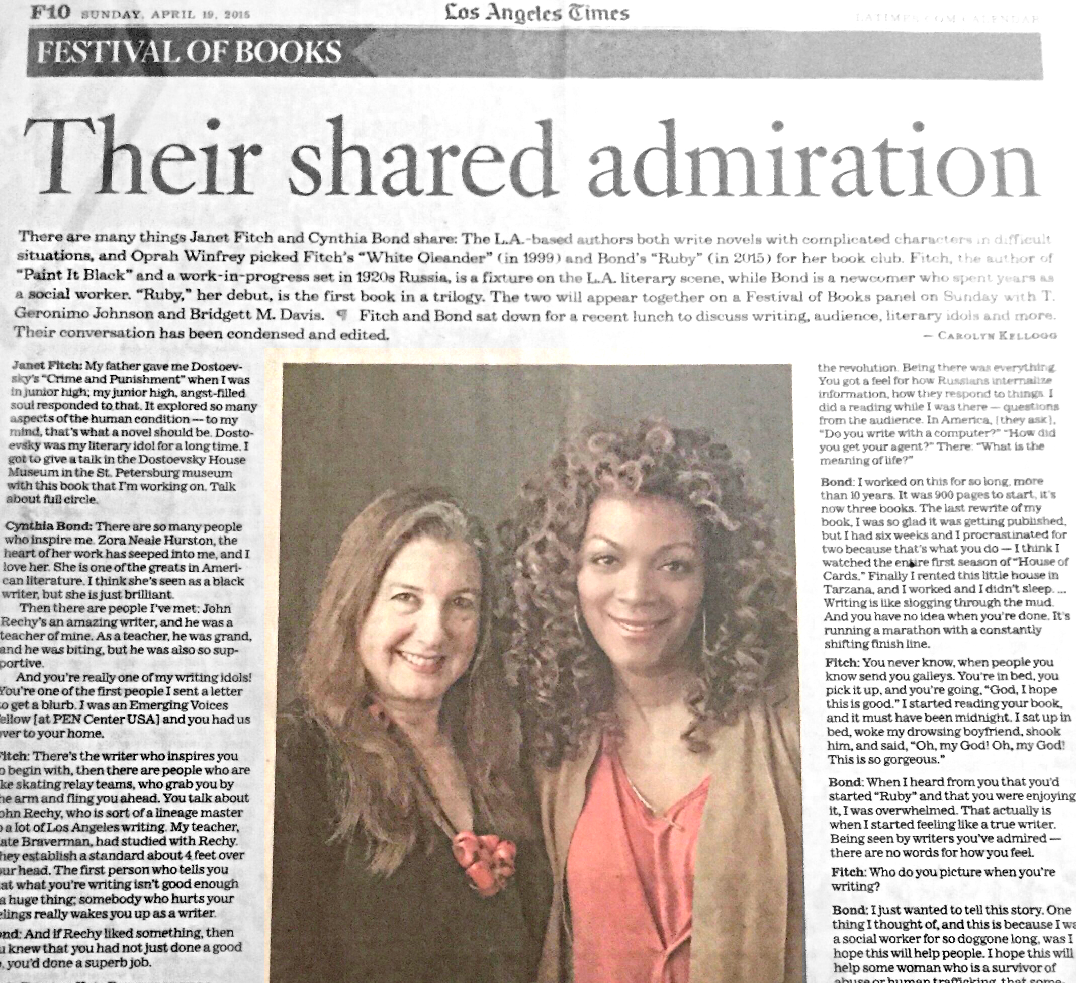LA Times - Authors Janet Fitch, Cynthia Bond share admiration for each others work