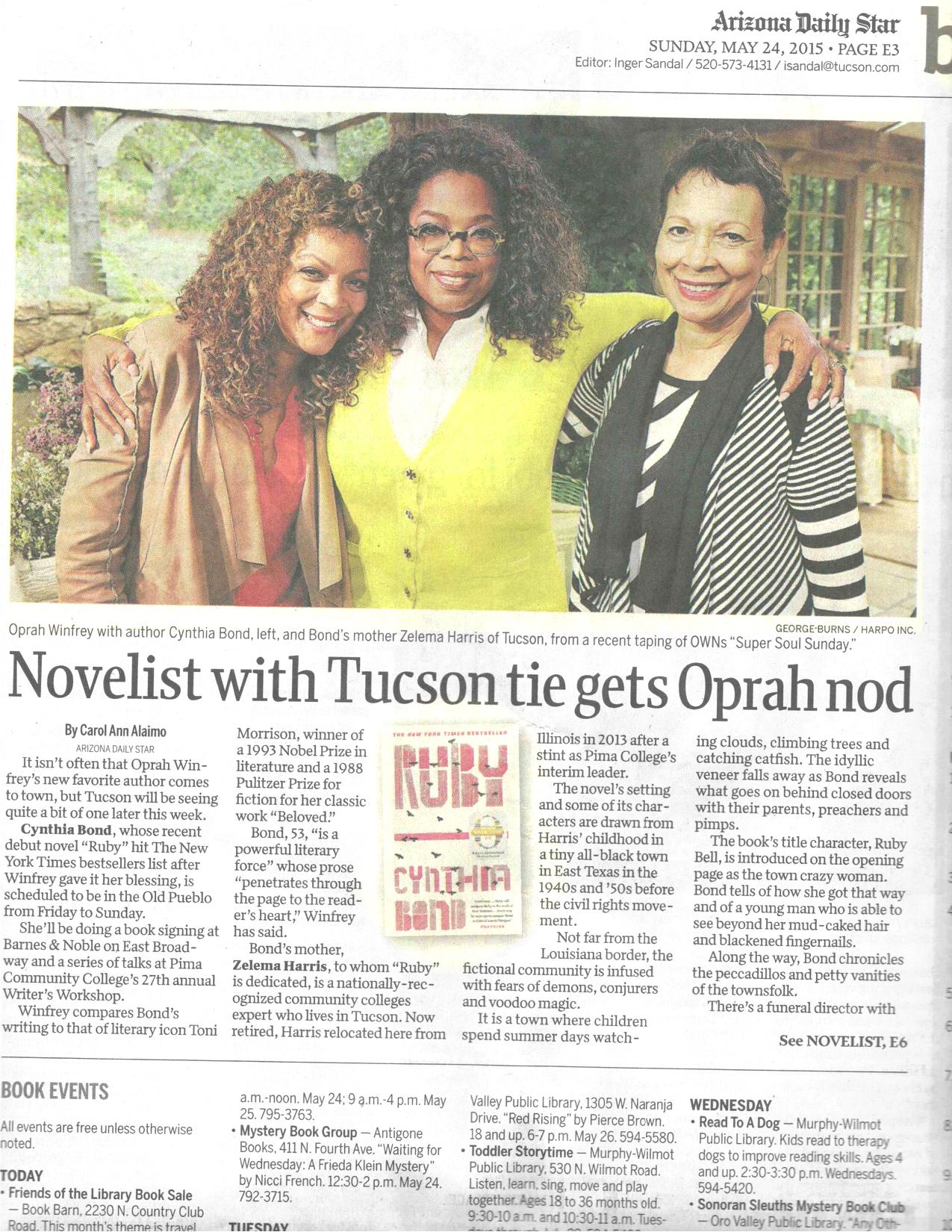 Arizona Daily Star - Novelist with Tucson tie gets Oprah nod